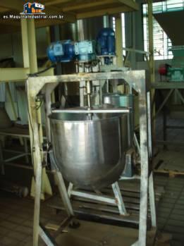 olla de acero inoxidable de 100 litros con mezclador y válvula